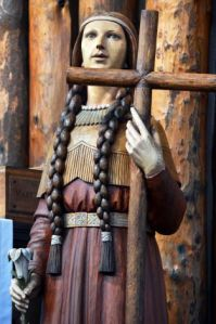 Wooden statue of Kateri