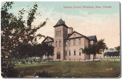 Tinted postcard of Victoria School built 1898, burned 1930.