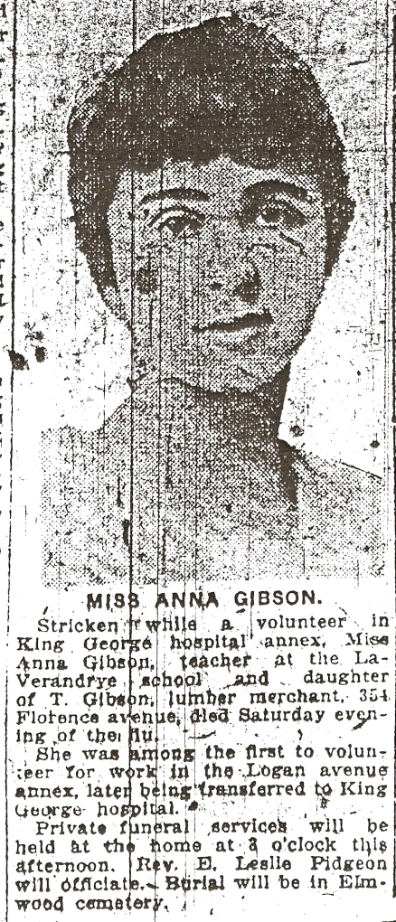 Newspaper notice of Anna Gibson's death