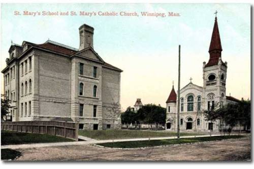 Tinted postcard view of St. Mary's School on the left and St. Mary's Cathedral on the right