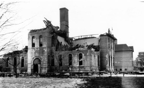 The burned-out remains of Victoria School after 1930 fire.